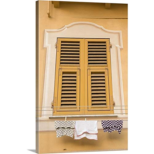 Wrap Shutter (Wendy Kaveney Premium Thick-Wrap Canvas Wall Art Print entitled Italy, Camogli. Yellow shuttered window and laundry on clothesline 20