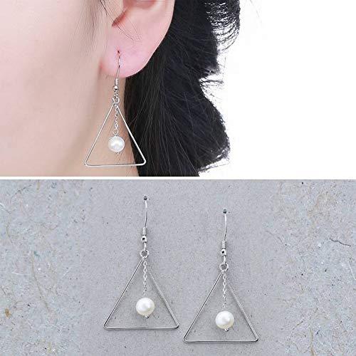 SLL Damenmode Ol 925 Silber Tropfenform Überzogene Ohrringe S925 Sterling Silber Natürliche Süßwasserperlen Ohrringe Mode Süßwasserperlen Ohrringe, Weiß (Tropfenform)