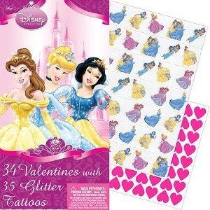 Disney Princess 34 Valentines with 35 Glitter Tattoos -