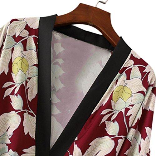 Pas Floral Casual Trench Rétro Gland Mode Châle Kimono Femme Chic Manteau Imprimé 2017 Taille Longra Rouge Automne Longue Cardigan Oversized Cher Grande Élégant Laçage TcR84