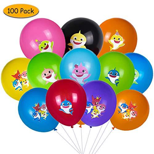 Globos de tiburón, Yisscen Suministros de decoraciones para fiestas de Baby Shark, Globos de látex de 100 piezas para la fiesta de cumpleaños de los ...