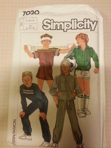 Simplicity 7020 Boy's unlined Jacket, Pants, Tops & Shorts Size K (8-10-12)