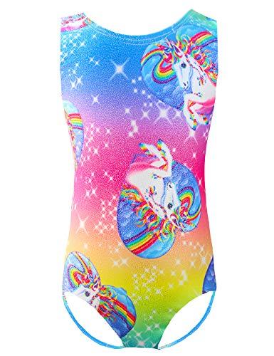 One-piece gymnastics leotards for little girls 6t 7t Kids Team Basic Sleeveless Dance Unitards Sparkly Biketard Leotards for Athletic,Activewear,Swimwear,Dance Rainbow Unicorn