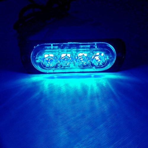 VSLED 4 LED Blue Light 12-Flashing Mode Car Truck Warning Caution Emergency Construction Strobe LED LightBar