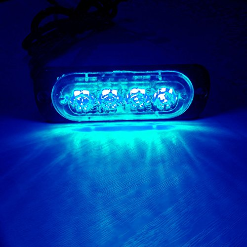 VSLED 4 LED Blue Light 12-Flashing Mode Car Truck Warning Caution Emergency Construction Strobe LED LightBar