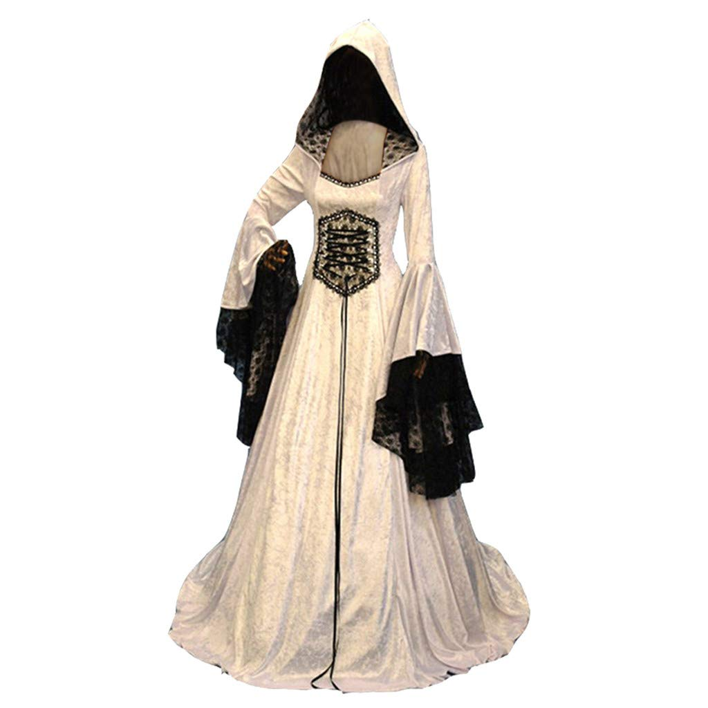 〓COOlCCI〓Women Medieval Renaissance Costume Cosplay Chemise Hoodies Over Dress Lace up Lace Patchwork Victorian Dress White by COOlCCI_Womens Clothing