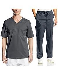 Cherokee Mens Luxe Scrub Set Medical/Dentist Uniform V-Neck Top, Drawstring Pant