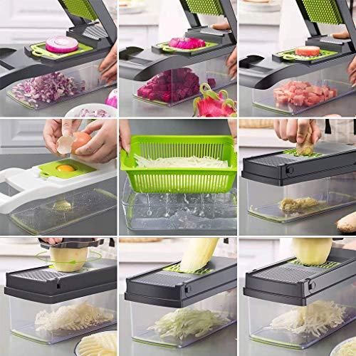 ear&ear Gemüseschneider 8-in-1-Mandolinen-Kartoffelschneider, Obst- und Gemüseschneider Zwiebel-Käseschneider, Küchengeräte mit Lebensmittelqualität Multifunktions-Lebensmittelhacker