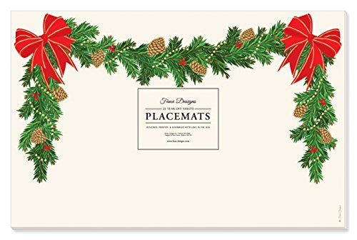 Faux Designs Paper Placemats - Holiday Garland (Faux Holiday Garland)