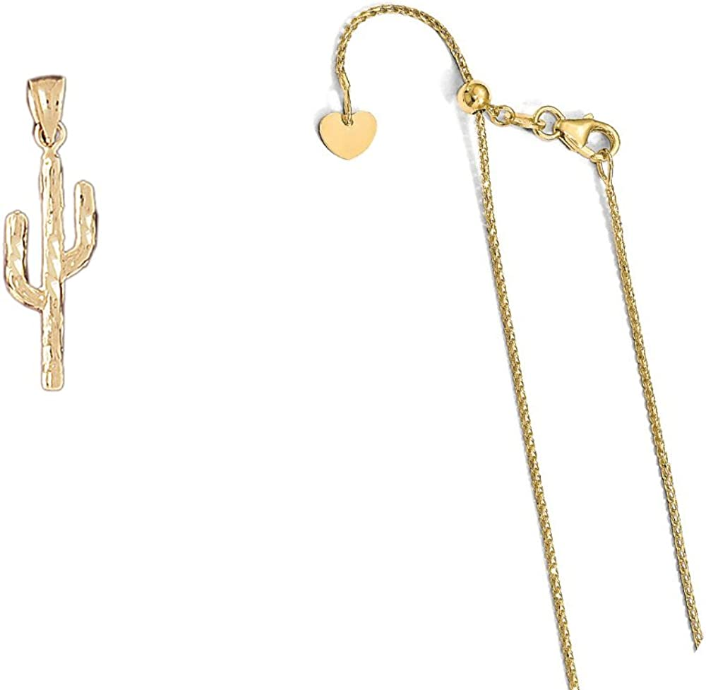 14K Yellow Gold Cactus Pendant on an Adjustable 14K Yellow Gold Chain Necklace