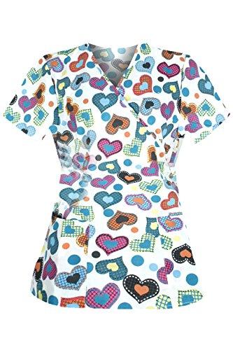 G Med Women's New Design Printed Mock Wrap Back Tie 2 Pockets Scrub Top(TOP-MED,DGN-L)