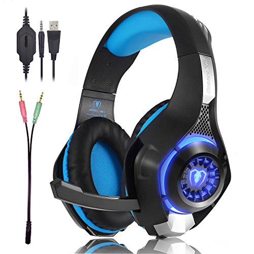 Beexcellent Gaming Headset GM-1 with Microphone for New Xbox 1 PS4 PC Cellphone Laptops Computer - Surround Sound, Noise Reduction Game Earphone-Easy Volume Control with LED Lighting 3.5MM Jack(Blue) (Inclusive Game)