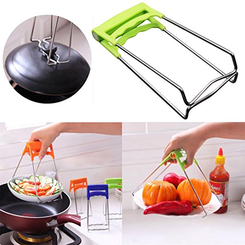 (Transer Kitchen Plate Gripper, Stainless Steel Foldable Hot Dish Lifter and Retriever, Bowl Clip Pots Crockery Holder Clamp Tongs (random color))