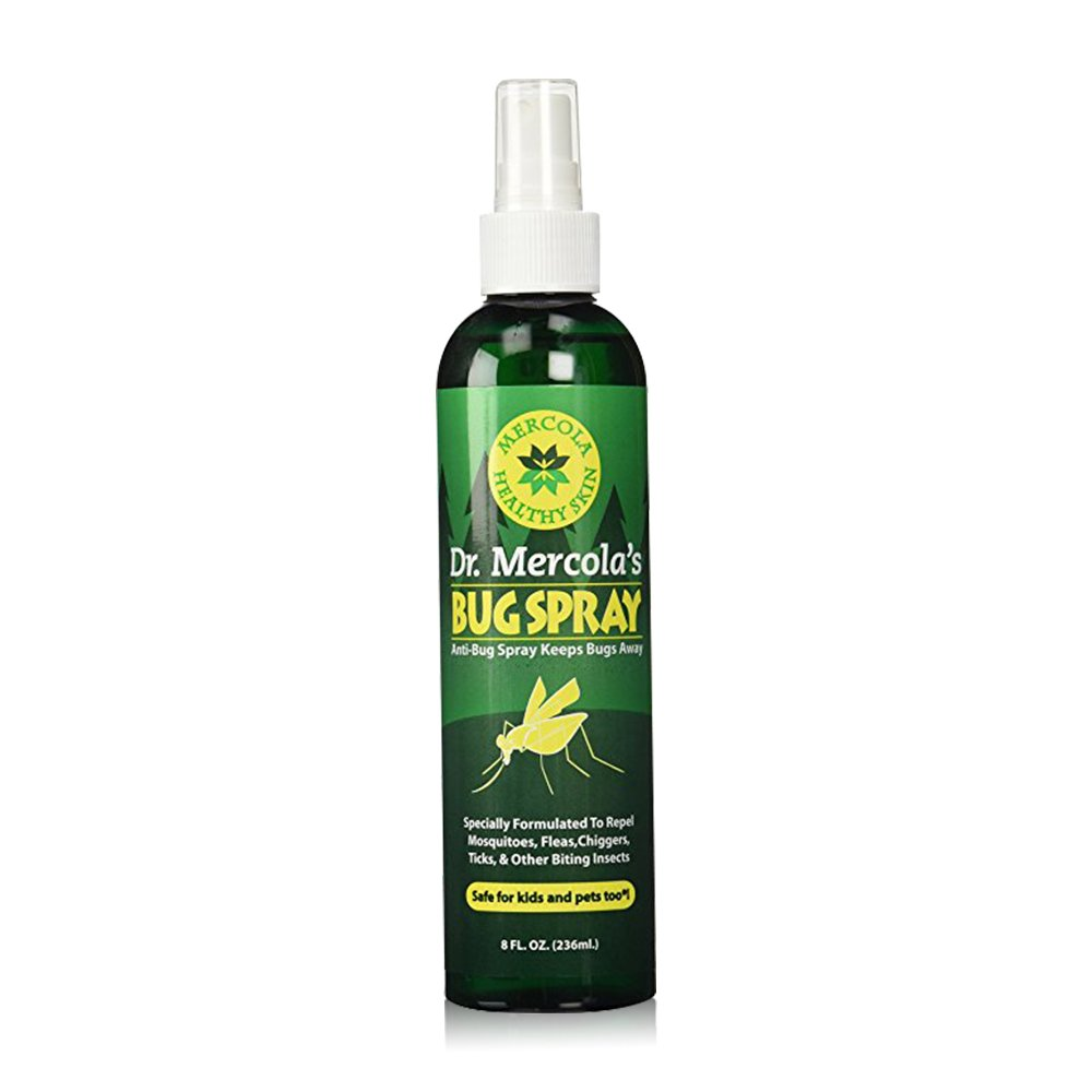 Dr Mercola Bug Spray - 8 Fl Oz Bottle - 100% Deet Free, Uses Essential Oils to Repel Mosquitoes, Fleas, Chiggers, Ticks, and Other Biting Insects, Pleasant Smell, No Harsh Chemicals