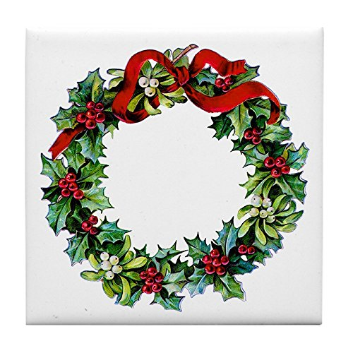 (CafePress - Holly Christmas Wreath - Tile Coaster, Drink Coaster, Small)