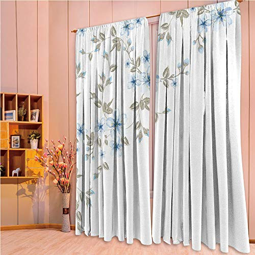ZHICASSIESOPHIER Finel Kids Curtains for Living Room Bedroom Window Curtains Baby Room Lovely Children Curtains Drapes,Cherry Tree Branches Framework Asian Spring Nature 84Wx95L Inch
