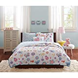 6 Piece Kids Girls Pink Purple Blue Yellow White Twin Coverlet/ Sheet Set, Garden Themed Bedding Flower Floral Beautiful Butterfly Lady Bug Cute Adorable Stylish Sweet Pretty Elegant Cheery, Polyester