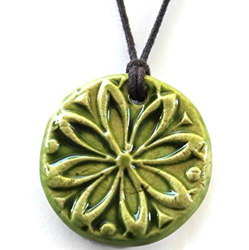 spring-green-rustic-textured-essential-oil-diffuser-necklace-round-ceramic-pendant-bohemian-aromathe