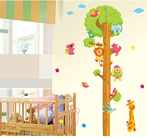 Jungle Zoo Tree Growth Chart Height Chart Wall Sticker Wallpaper Wall Decor for Kids Children (Wallpaper Growth Chart)