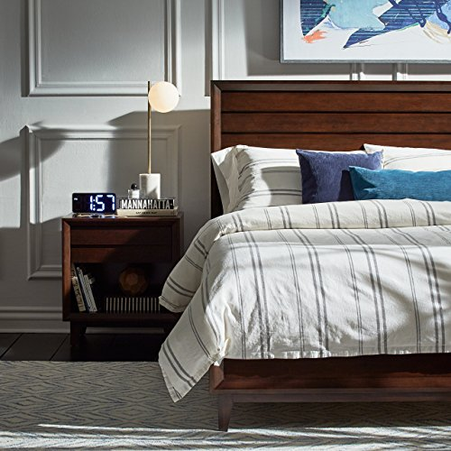 Rivet Classic Maxwell Garment-Washed Stripe Duvet Cover Set, King, White with Gray Stripe by Rivet (Image #4)