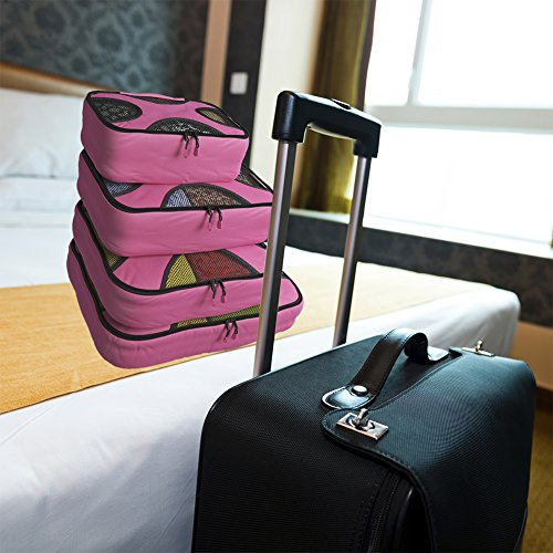 Shacke Pak - 4 Set Packing Cubes - Travel Organizers with Laundry Bag (Precious Pink) by Shacke (Image #1)