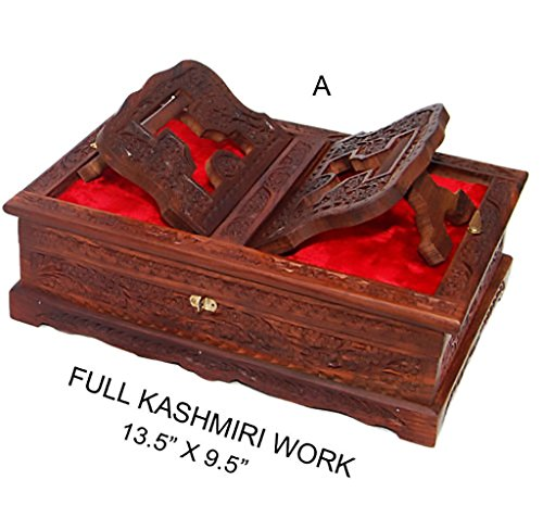 Wooden Bible Box - Holy foldable Book Stand Wooden Handcarved Rehal Box For Quran,Bible,Gita,Gurugranth , , Christmas or Valentine's Day Gift by Affaires W-40170