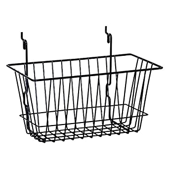 "KC Store Fixtures A03009 Basket Fits Slatwall, Grid, Pegboard, 12"" W x 6"" D x 6"" H, Black (Pack of 6)"