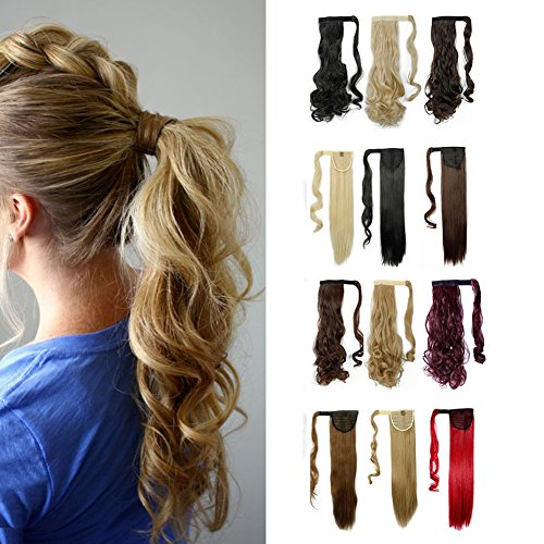 Wrap Around Synthetic Ponytail Clip in Hair Extensions One Piece Magic Paste Pony Tail Long Wavy Curly Soft Silky for Women Fashion and Beauty 17 / 17 inch (light ash brown mix bleach blonde)