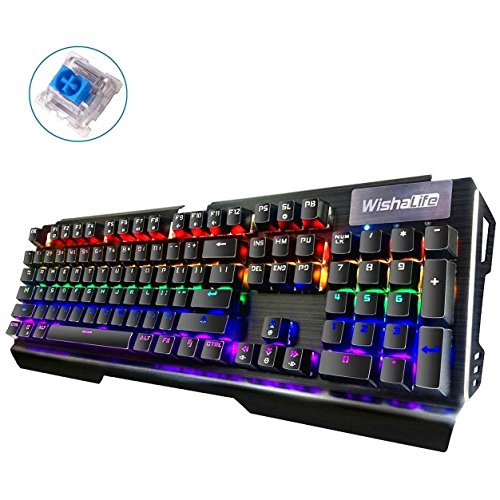 WishaLife Ergonomic LED Backlit Mechanical Gaming Keyboard with Blue Switches DIY, 104 Key Anti-ghosting, Replaceable Switches Perfect for PC & Mac Gamers (Black) by WishaLife