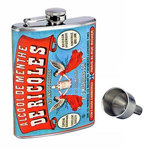 Perfection In Style 8oz Stainless Steel Whiskey Flask with Free Funnel D-089 Alcool De Menthe De Ricqles 43 Ans De Succes Paris (Succes Paris De)
