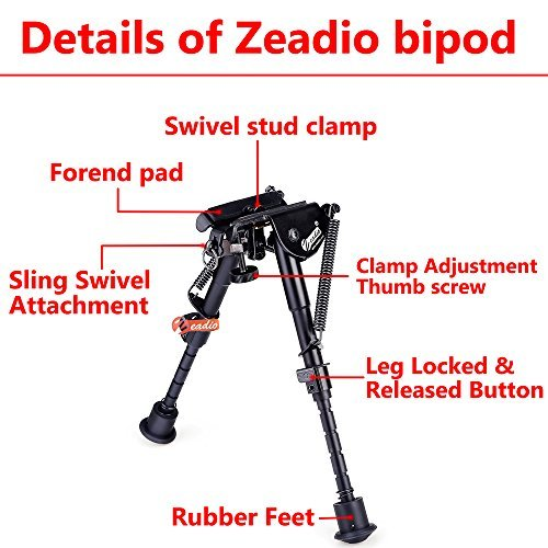 6-9 Inches Extendable Tactical Bipod With Sling Mount And Protective Case NEW