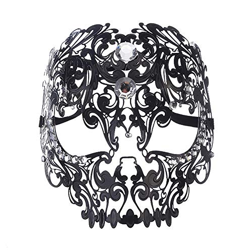 Fly Diamond Ball Half Face Mask Tiger Head Makeup Cosplay Prop Metal Iron Full Face Mask mask (Color : -