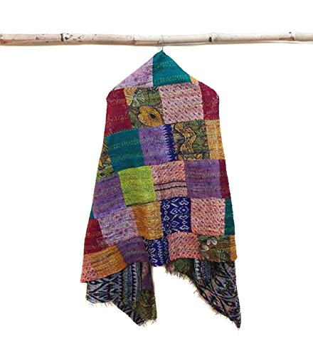 Silk Scarf Neck Wrap Stole Dupatta patchwork Scarf Women Fashion Scarves