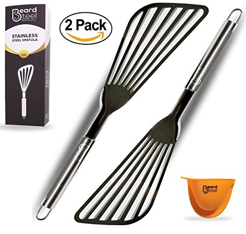 Fish Spatula, Nonstick Metal Oven Utensils, Premium Stainless Steel Slotted Turner with Flexible Blade for Frying, Turning, and Grilling Set of 2