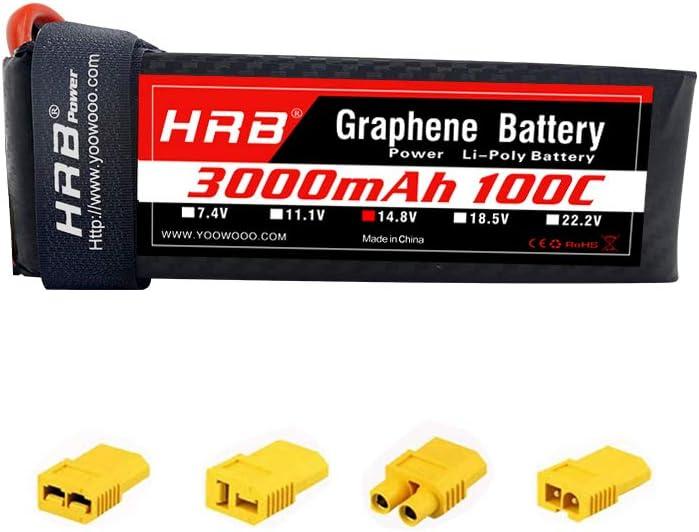 HRB 4S Graphene Battery 14.8V 3000mAh 100C Graphene Lipo Batería con XT60 Deans T Traxxas EC3 Adaptador Enchufe para Helicópteros RC Quadcopter Avión Coche Camión Barco Dron y FPV