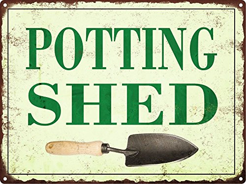 (Potting Shed Metal Sign Vintage Look Rustic Garden Flowers Retro 9x12)