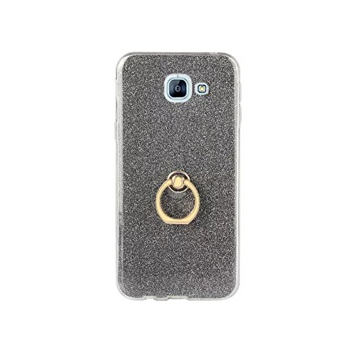 Luxury Bling Sparkle Style Case, Soft TPU [Silicone] Flexible Glitter Back Cover with Fingerring Stand [Anti Scratch] [Shockproof] for Samsung Galaxy A810 (A8 2016) ( Color : White ) Black