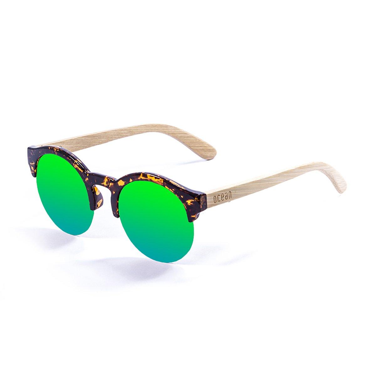 Ocean Sunglasses Sotavento Lunettes de Soleil Mixte Adulte, Demy Brown Frame/Wood Natural Arms/Revo Green Lens