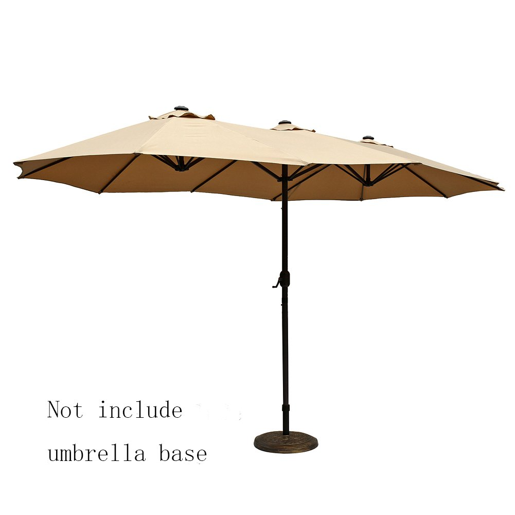 Le Papillon 14 Ft Market Outdoor Umbrella Double Sided Aluminum Table Patio  Umbrella With Crank