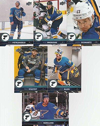 Louis Blues Team Set (2017-18 Upper Deck Complete St. Louis Blues Team Set of 13 Cards: Alex Pietrangelo(#158), Jaden Schwartz(#159), Jake Allen(#160), Kyle Brodziak(#161), Patrik Berglund(#162), Paul Stastny(#163), Brayden Schenn(#403), Jaden Schwartz(#404), Colton Parayko(#405), Vladimir Tarasenko(#406), Alexander Steen(#407), Paul Stastny(#408), Vladimir Sobotka(#409))