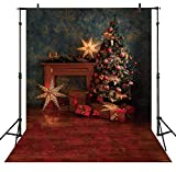 Allenjoy 5X7FT Vintage Christmas Tree Photography Backdrops Indoor Old Master Wall Sparkle Stars Winter Holiday Background for Kids Picture Xmas Family Party Decorations Photographer Props