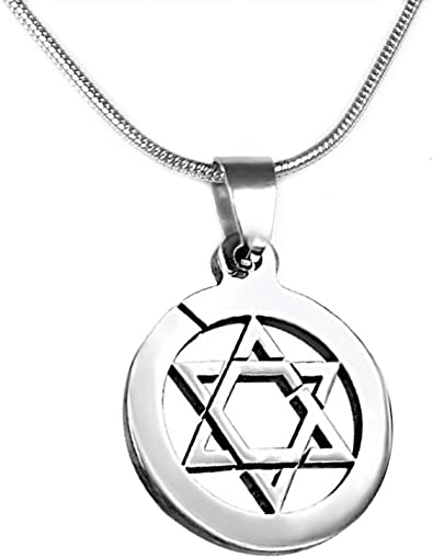 Jewish Star of David Pendant Jewelry,Snake Chain Star Necklace For Men Women