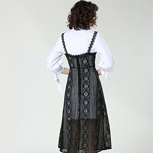ZHUDJ Suspender Encaje Camiseta Primavera Dos Temperamento Slim Dos Vestido Falda white Mucho rYCwrTx