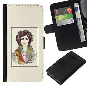 Pintura del arte del cartel amarillo- la tarjeta de Crédito Slots PU Funda de cuero Monedero caso cubierta de piel Para Samsung Galaxy Core Prime