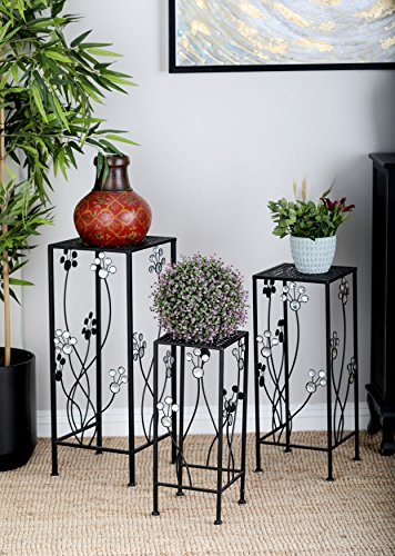 Deco 79 63344 3-Piece Metal Outdoor Plant Stand Set, Square by Deco 79 (Image #3)