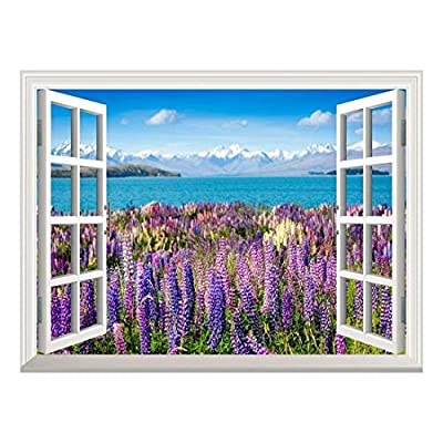 Removable Wall Sticker/Wall Mural - Lanvender Field by The Lake in The Mountains | Creative Window View Wall Decor - 36