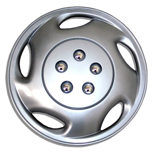 (TuningPros WSC-941S15 Hubcaps Wheel Skin Cover 15-Inches Silver Set of 4)