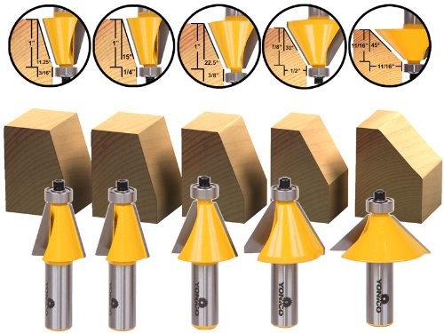 Yonico 13508 5 Bit Chamfer Router Bit Set with 11.25-Degree 15-Degree 22.5-Degree 30-Degree 45-Degree 1/2-Inch Shank
