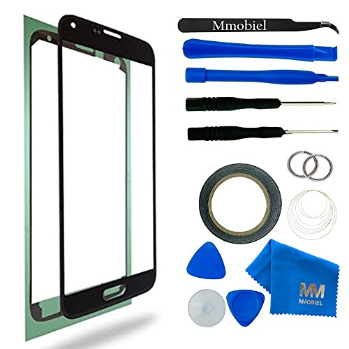 MMOBIEL Front Glass for Samsung Galaxy S5 / S5 Neo (Black) Display Touchscreen replacement kit 12 pcs incl. tools / pre cut Sticker / cloth / suction cup / wire
