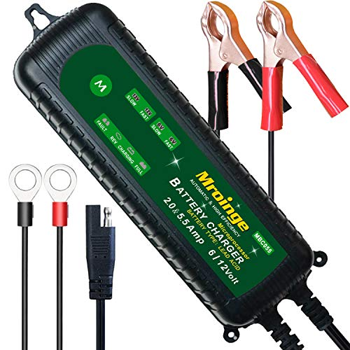Mroinge MBC055 6V and 12V 5.5A Smart Vehicle Battery Charger/Maintainer for Cars, Motorcycles, RVs, TVs, Powersports, Boat and More Vehicle GEL WET AGM Batteries, With IP65 Waterproof